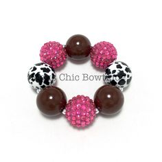 Toddler Pink, Brown, Black and White Cow Print Chunky Bracelet, Kids Cow Chunky Bracelet, Country girl bracelet, Cow girl bracelet by MaksChicBowtique on Etsy https://www.etsy.com/listing/287017485/toddler-pink-brown-black-and-white-cow