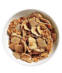 One cup of mixed cereal (like bran flakes, Wheat Chex, and Health Valley Organic Oat Bran Flakes).