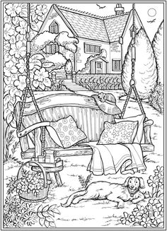 Creative Haven Country Gardens Coloring Book -- 6 sample pages Dover Coloring Pages, Detailed Coloring Pages, Printable Adult Coloring Pages, Cute Coloring Pages, Coloring Sheets, House Colouring Pages, Free Coloring, Colouring Pages For Adults, Tumblr Coloring Pages