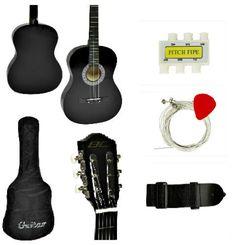 Black Acoustic Guitar Starter Kit Beginers Right-handed Hollow Guitar Acoustic Guitar Kits, Black Acoustic Guitar, Starter Kit, Hands