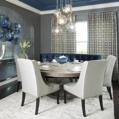 Dining Room Teal And Silver Design, Pictures, Remodel, Decor and Ideas