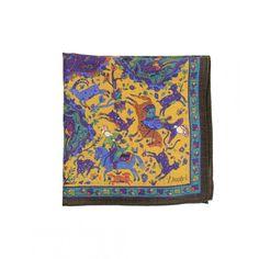 Mughal Print Wool and Silk Pocket Square - Pocket Squares - Online Shop - Drake's