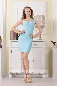 Sky Blue Crisscross Cutout Sleeveless Banded Dress