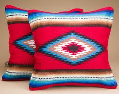 Pair of old style southwestern pillow coverswith a traditional serape…