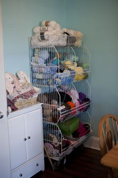 Re-purposed sale rack from pharmacy- now yarn stash holder!
