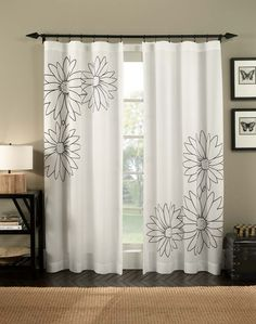 Paint pattern onto white material idea - Marseilles Floral Embroidered Flip Over Curtain Panel / Curtainworks.com