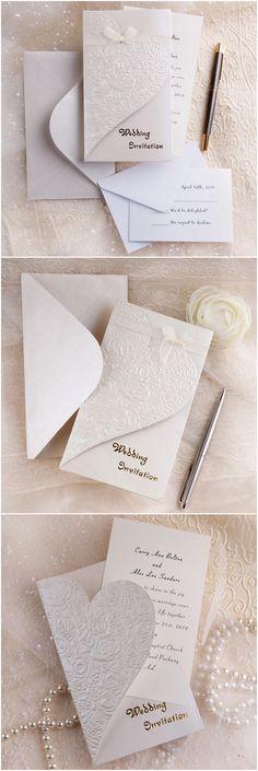 modern elegant folded embossed wedding invitations with free rsvp cards and envelopes