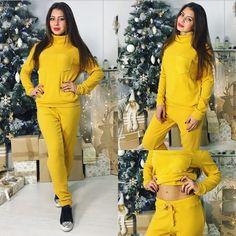 Ангоровый женский спортивный костюм однотонный желтый