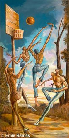 Above The Rimm by Ernie Barnes African American Artist, African Art, Ernie Barnes, Black Love Art, Basketball Art, Black Artwork, Afro Art, Black Artists, Arte Pop