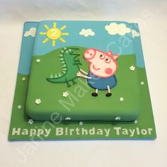 peppa and george pig teddy bear and dinosaur cakes - Saferbrowser Yahoo Image Search Results Tarta George Pig, Cumple George Pig, George Pig Cake, George Pig Party, Peppa Pig Birthday Cake, Birthday Party Snacks, Birthday Fun, Little Man Birthday, Second Birthday Ideas