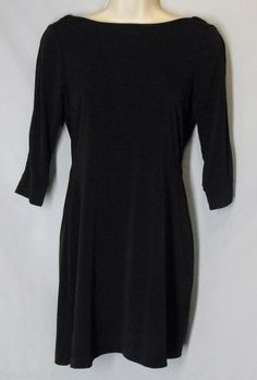 FREDERICKS OF HOLLYWOOD size S Small Black Stretch Dress w/ Silver Back Chain