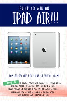 Enter to win an iPad Air!!! Click the image to enter the contest. Ends 1/31.