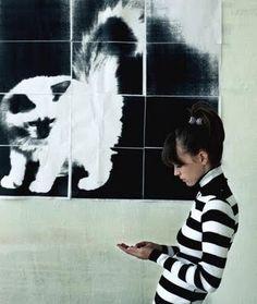 Anna Karina - black and white stripes