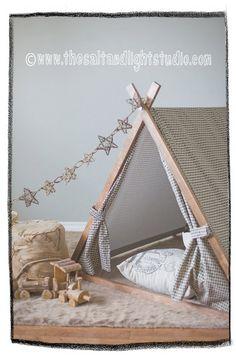 Kids Teepee Play Tent in classic Herringbone by TeepeeandTent
