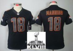 Women Nike Denver Broncos 18 Peyton Manning Black Impact Game LIMITED 2014 Super Bowl XLVIII NFL Jerseys