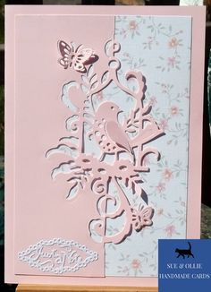 Bird In A Cage, Pink Cards, Wax Paper, Big Shot, Picture Photo, Flower Designs, Note Cards, Pink White, Card Stock