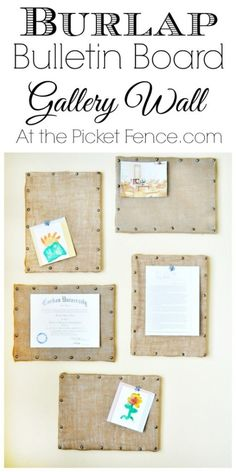 burlap-bulletin-board-gallery-wall--from At the Picket Fence