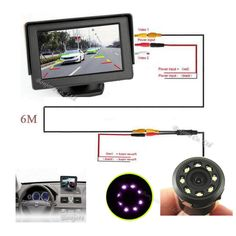 """2017 Parking Car 4.3"""" TFT LCD vehicle 800*480 SCREEN Monitor Display CCD Reversing Rearview Camera Infrared Camera With Lights"""