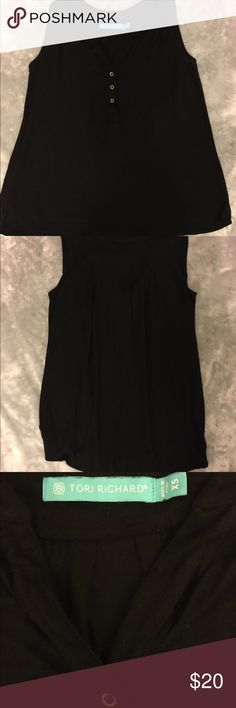 Tori Richard Snap Henley Tank Soft and flowy henley tank with adorable snap detail and pleats on the back. Very forgiving fit. EUC. Smoke free home. Tori Richard Tops Tank Tops