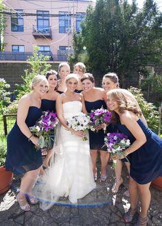 Matching Navy Bridesmaids' Dresses