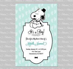Baby shower Snoopy Invitation Boy Custom order by IntarsicaDesign: