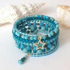 Turquoise Memory Bracelet Turquoise Wrap Memory Wire Bracelet Turquoise Beaded Cuff Bracelet Bangle Summer Bracelet Stacked Layered Bracelet by BarbsBeadedJewelry on Etsy