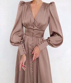 Vintage Satin Long Dress / Lantern Sleeve Dress / Women | Etsy Ruched Dress, Satin Dresses, Dresses For Hijab, Party Dresses, Prom Gowns, Prom Dress, Dress Luxury, Vintage Long Dress, Robes D'occasion