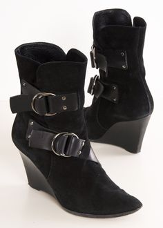 Givenchy Black Suede Wedge Booties