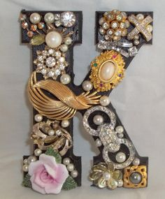 This is for one jeweled initial monogram letter K - 1. It is approximately five inches tall and four inches across. The depth, or height in thickness is