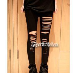 €3.58 Black Stretch Ripped Slashed Torn Fashion Leggngs Gold Studs Punk Women Sexy New (BLACKS) FREE SHIPPING!