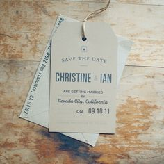 Tag save the date could also make a perfect Christmas ornament!