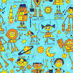 The Mechanicools by Nate Williams Illustration - Robot, Illustration, Kids, Pattern, Dog, Space