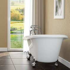 Luxury 60 inch Clawfoot Tub with Vintage Slipper Tub Design in White, includes Brushed Nickel Ball and Claw Feet and Drain, from The Brookdale Collection Deep Tub, Deep Soaking Tub, Soaking Bathtubs, Wooden Bathtub, Clawfoot Bathtub, Best Bathtubs, Corner Tub, Shower Fixtures, Tub Surround