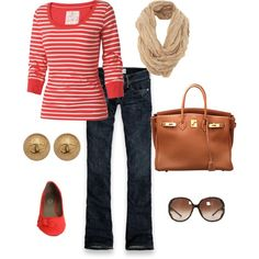 red and white stripes and jeans. Such a cute February outfit.... or July with a denim mini. ;)