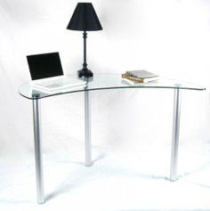 "Clear Glass Computer Desk (Clear and Silver) (48.5""W x 30.5""H x 21""D) Tier One Designs,http://www.amazon.com/dp/B004CX1DHU/ref=cm_sw_r_pi_dp_1Yvmtb0Z4XAGE1TK"