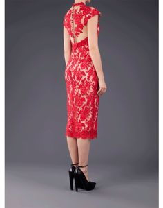 Red Lace Pencil Dress - just jaw-dropping. I want this so bad!