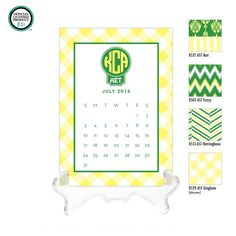 Alpha Sigma Tau Personalized Desk Calendar  // 2016 2017 Personalized Calendar / Monogrammed Calendar / AST Big Little / Rush Gift by DetailsandPaper on Etsy