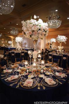 Tall Floral Centerpiece at Elegant Ballroom Reception | Photography: Next Exit…