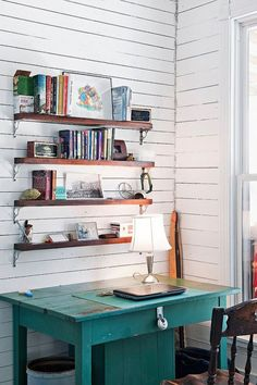 Shabby chic painted turquoise desk office decor. Repin By @residencestyle