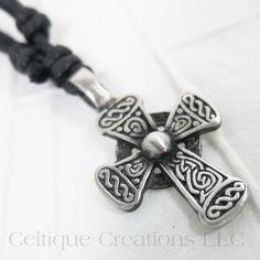 Rounded Celtic Cross Necklace Fine Pewter Adjustable #celtic #celticcross #celticnecklace #celticjewelry #celtiquecreations