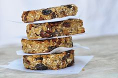Anja's Food 4 Thought: Banana Pecan Granola Bars  Use honey instead of vanilla and oil. Sunflower seeds, cranberries, chocolate chips