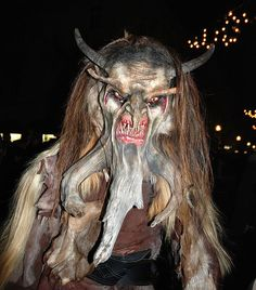Krampus is a mythical creature recognized in Alpine countries. According to legend, Krampus accompanies Saint Nicholas during the Christmas season, warning and punishing bad children, in contrast to. Halloween Run, Halloween Masks, Halloween Stuff, Wendigo Costume, Christmas Horror Movies, Horror Photos, Monster Costumes, Bad Santa, Demonology