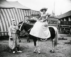 Lady on a horse, with a clown watching, c.1910 Classic Portraits of Circus Performers from the Early 1910s