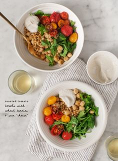 roasted tomato bowls / @loveandlemons - will pass on the wheatberries, but would be good w/ quinoa