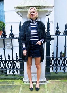 ACE inter-seasonal dressing like Pandora Sykes with a must have high neck striped top! If Pandora's doing it then so are we!