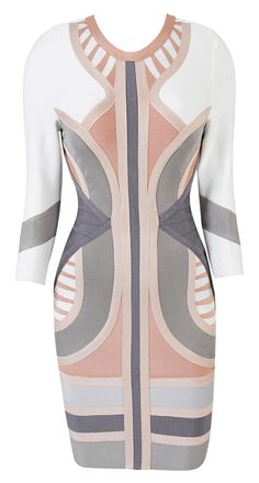 Hot! or Hmm...: Lala Anthonys Ice Cream Stop Celeb Boutique Laurent Nude, Grey, and White Geometric Bodycon Dress