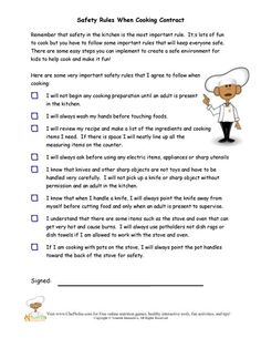 Printables Kitchen Safety Worksheets kitchen safety problem solving rules and how to cook in the is very important have children review sign an