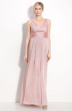 b52f7f8b8a Bridesmaids Inspiration  Floor length blush pink bridesmaid dress with  empire waist  bridesmaid  blush