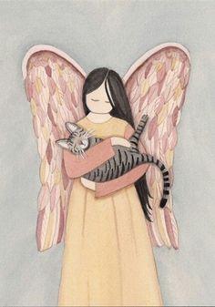 Tabby Cats Grey Gray grey tiger (tabby) cat with angel / Lynch signed folk art print Gato Angel, Pet Remembrance, Orange Tabby Cats, Pet Loss, Angel Art, Rainbow Bridge, I Love Cats, Cat Art, Cats And Kittens
