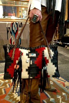 THE DIANE TOTE  Navajo Handbags made from blankets / rugs, vintage horse tack, and deer, elk or cowhide leathers. I embellish the bags with vintage trade beads, turquoise, coral, nickel silver/German silver Concho buttons, nickel silver spots/studs, and deer antler tips  Ooo So Santa Fe